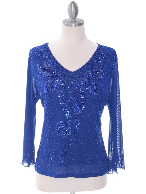 blue beaded top royal blue beaded top sung boutique l a