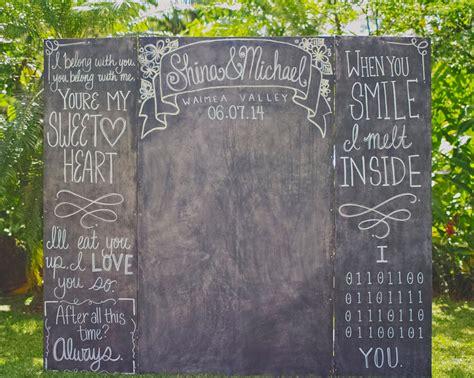 diy chalkboard photo booth a whimsical diy wedding in hawaii with handmade clay