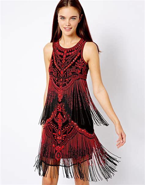 fringe beaded dress asos river island beaded fringe dress in lyst