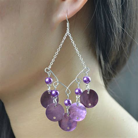 how to make chandelier earrings with how to make purple shell chandelier earrings for summer