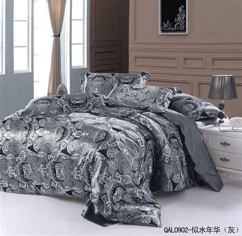 Kingsize Bedding Sets Grey Silver Silk Bedding Set Sheets Paisley King