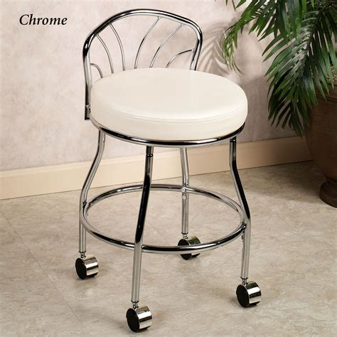 bathroom vanity with chair flare back metallic finish vanity chair with casters