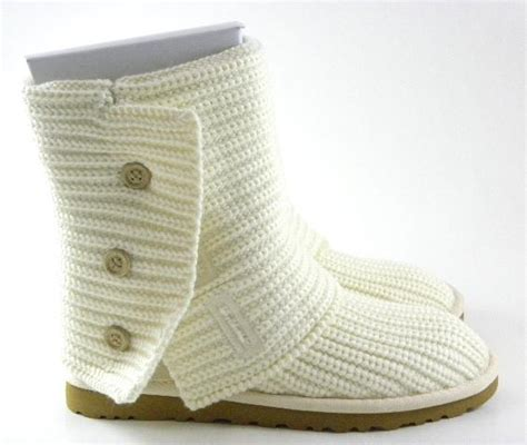white knitted uggs ugg australia classic cardy white knit boots womens