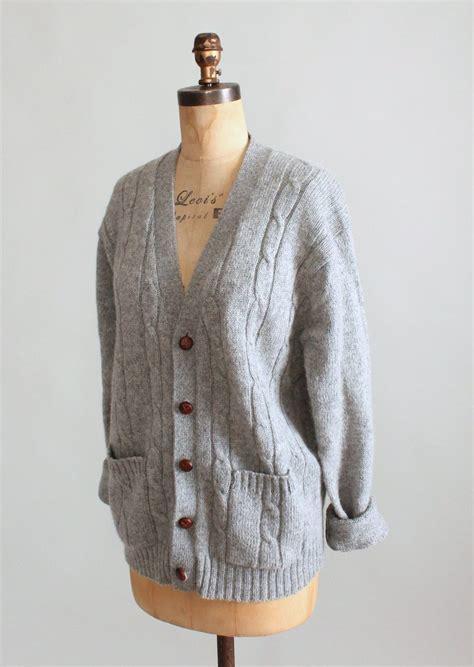 grey cable knit cardigan vintage 1960s grey wool cable knit boyfriend cardigan