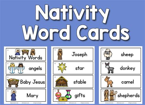 cards in word nativity picture word cards prekinders