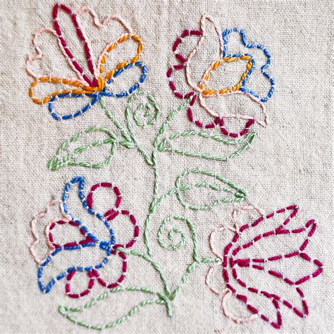 how to do embroidery with outlining with running stitch a tutorial kate