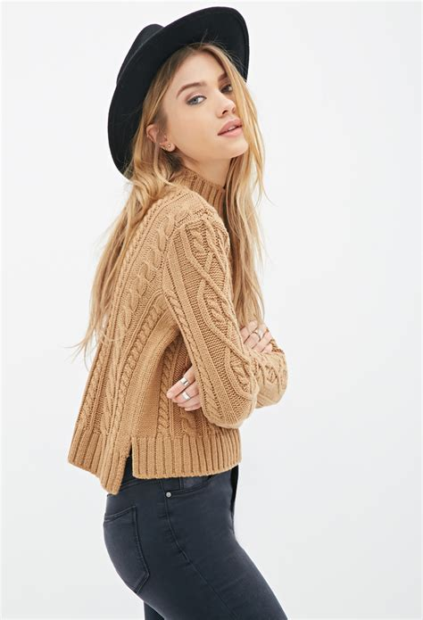 knitted sweaters forever 21 forever 21 cable knit mock neck sweater in brown lyst