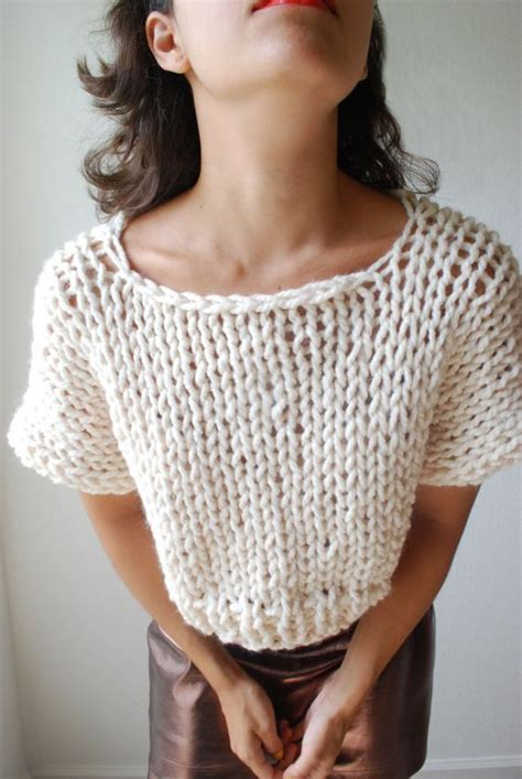 top knitting websites the soho crop top sweater knit in fisherman par