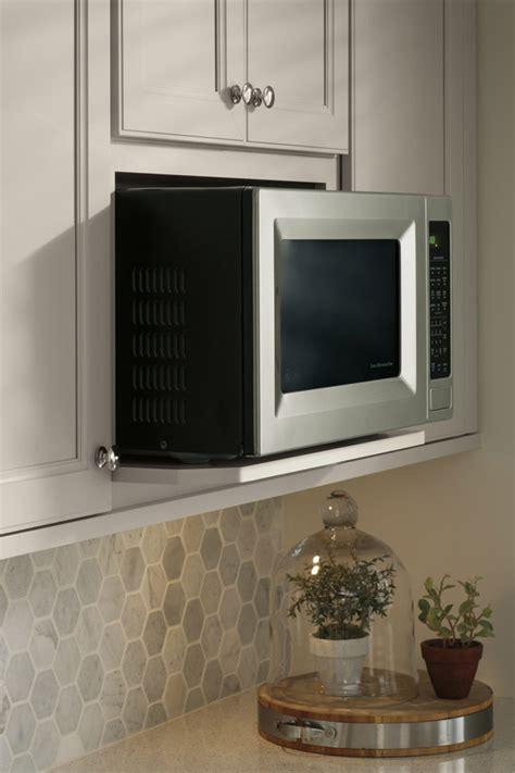 Small Kitchen Island Design wall microwave open shelf cabinet aristokraft