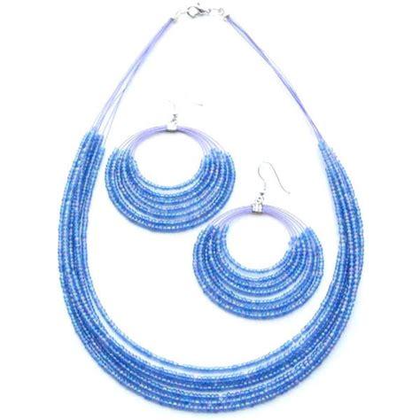 blue fashion jewelry sky blue beaded fashion jewelry layered necklace earrings
