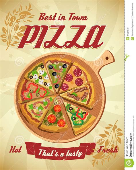 Kitchen Designs Unlimited vector pizza label or poster stock vector image 44351973