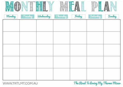 8 best images of meal planning template printable