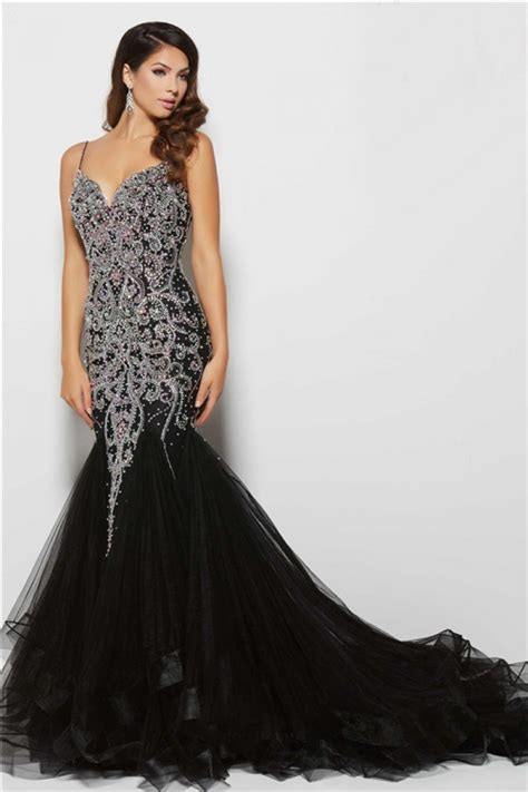 low back beaded dress gorgeous mermaid low back black tulle beaded evening prom