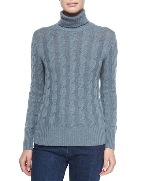 cable knit turtleneck loro piana cable knit turtleneck sweater in blue