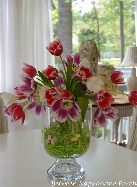 Centerpiece Ideas For Kitchen Table easter tulip centerpiece in pottery barn knock off double