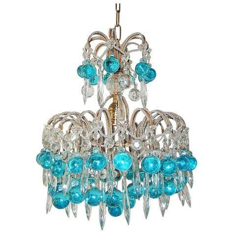 blue beaded chandelier beaded aqua blue murano balls and crystals