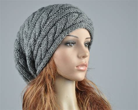 mens slouchy beanie knitting pattern free knit hat unisex charcoal hat slouchy hat cable