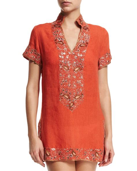beaded tunic florabella viceroy beaded linen coverup tunic in