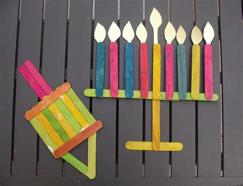 Craft Stick Menorah And Dreidel Family Crafts
