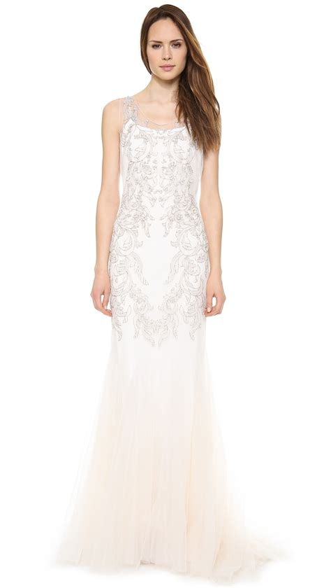 white beaded gown badgley mischka collection beaded tulle gown ivory in