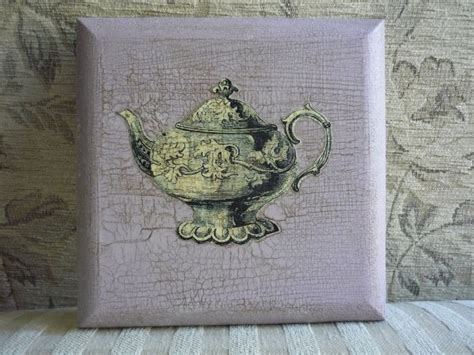 decoupage crackle decoupage of teapot on waxed crackle glaze