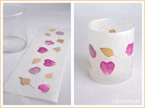 wax paper crafts for leaf and flower petal nature wax paper votive candle