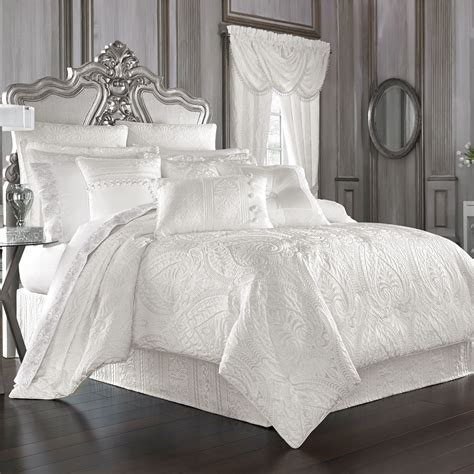 puff comforter sets bianco puff jacquard solid white comforter bedding by j
