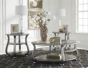 table set living room coralayne silver metal glass 3pc rectangle coffee