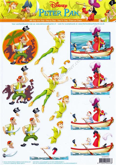 disney decoupage disney pan captain hook 3d decoupage sheet