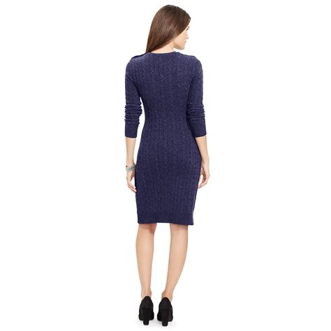 knit sweater dress ralph cable knit sweater dress in blue navy lyst