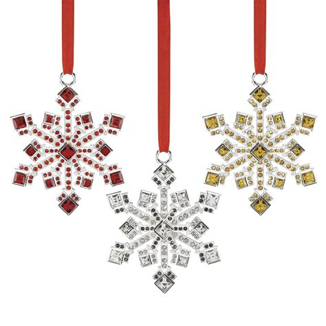 jeweled ornaments jeweled snowflake ornaments set of 3 reed and barton