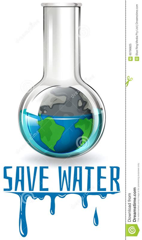 theme save earth save water theme with earth in flask stock vector image
