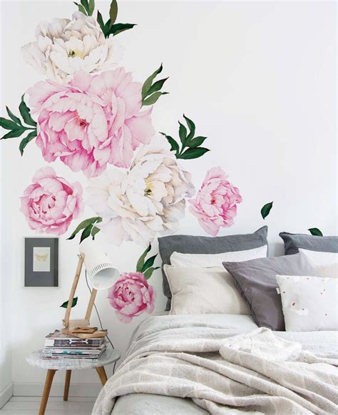 flower stickers for walls peony flowers wall sticker watercolor peony wall stickers