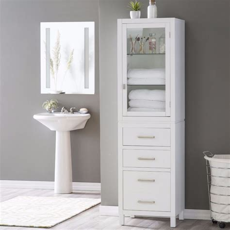 bathroom linen storage cabinets linen cabinet for bathroom glass shelf drawer bath