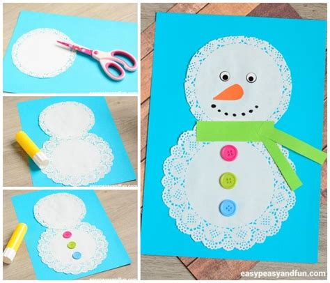 snowman craft doily snowman craft easy peasy and