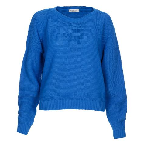 jumpers uk s royal blue knitted pullover crop jumper
