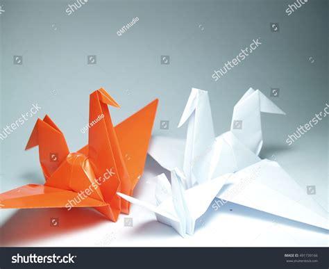 origami paper white origamipaper crane on white background stock photo