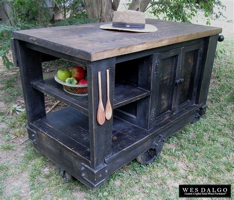 rustic kitchen islands and carts buy a custom distressed black modern rustic kitchen island cart with walnut stained top made