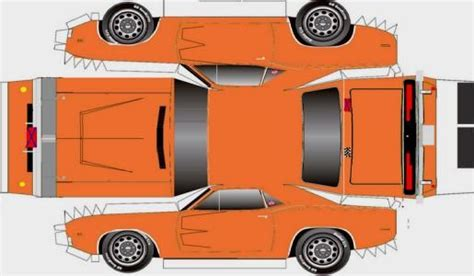 paper craft cars easy to build 1969 s dodge charger paper model by
