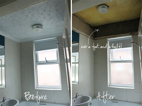 drop ceiling height operation bathroom remodel ripping the false ceiling
