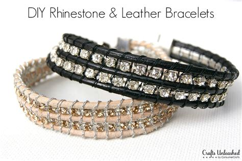 how to make leather jewelry leather bracelet with rhinestone chain tutorial