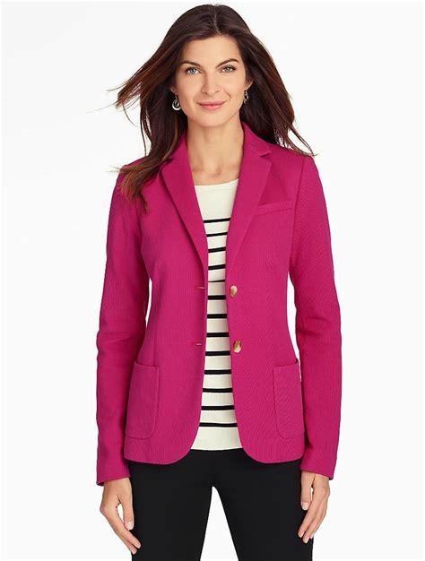 pink knit blazer talbots knit blazer in pink lyst