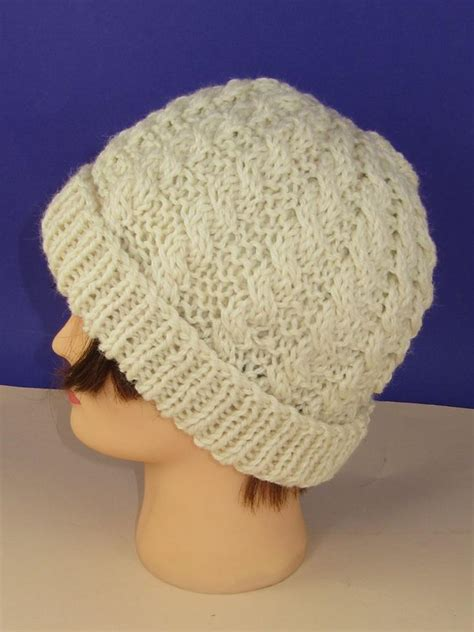chunky knit beanie hat pattern easy cable chunky unisex beanie hat knitting pattern by