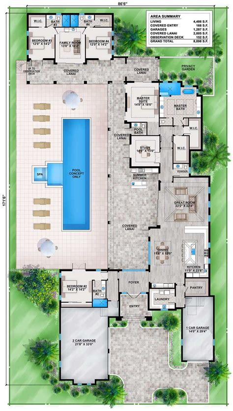 pool house plans with bedroom best 25 house plans with pool ideas on 4