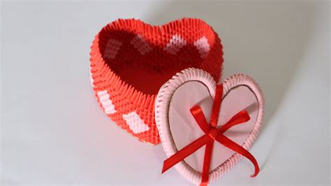 3d origami hearts how to 3d origami box for jewelry part 1