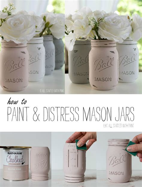 chalk paint on jars how to paint and distress jars
