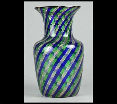 handblown glass italian blown glass vase with ribbon designs