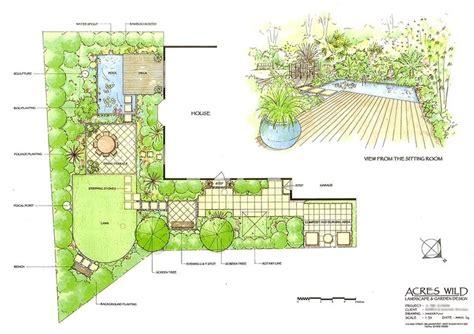 l shaped garden design ideas masterplan by acres la sketch