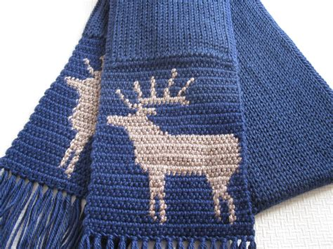 navy blue knitted scarf knit mens scarf navy blue knitted scarf with elk