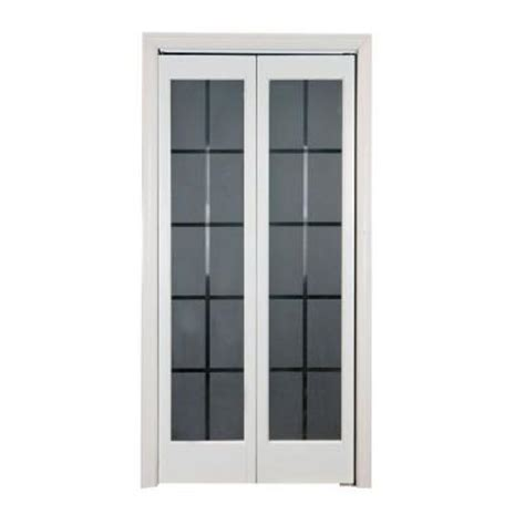 interior glass doors home depot pinecroft 36 in x 80 in colonial glass wood universal reversible interior bi fold door